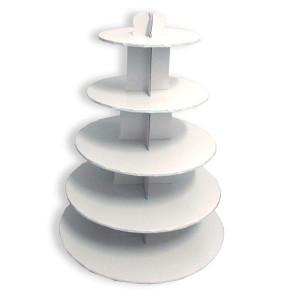 Grand Présentoir Blanc Cupcakes 5 Etages Ronds Gatodéco