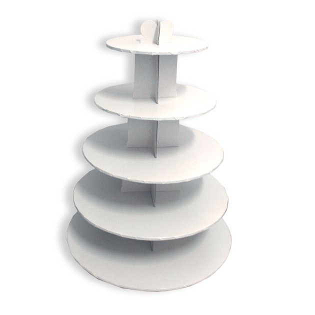 Grand Presentoir Blanc Cupcakes 5 Etages Ronds Gatodeco