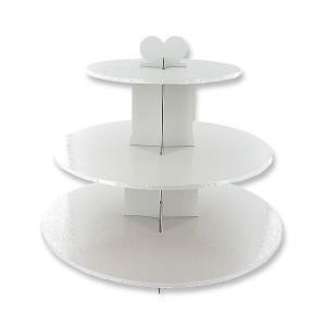 Présentoir Blanc Cupcakes 3 Etages Ronds Gatodéco