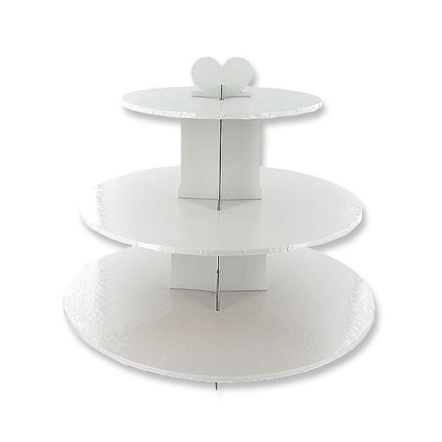 Presentoir Blanc Cupcakes 3 Etages Ronds Gatodeco