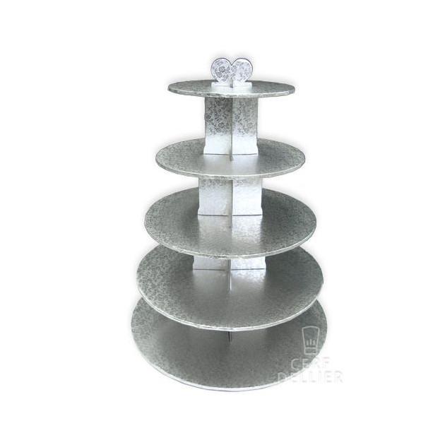 Grand Presentoir Argente Cupcakes 5 Etages Ronds Gatodeco