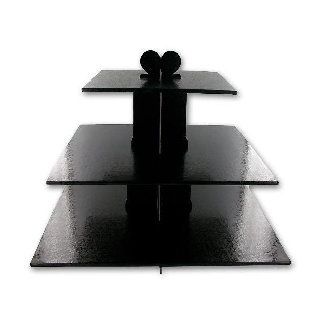 Presentoir Noir Cupcakes 3 Etages Carres Gatodeco