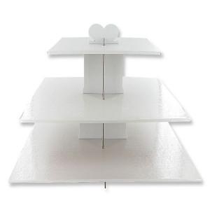 Présentoir Blanc Cupcakes 3 Etages Carrés Gatodéco