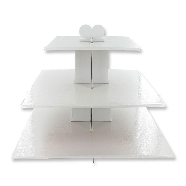 Presentoir Blanc Cupcakes 3 Etages Carres Gatodeco