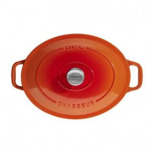 FIN DE SERIE Cocotte en Fonte Ovale 33 cm Orange Flammé Chasseur