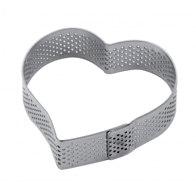 Cercle à Tarte Coeur Inox Micro-perforé 7,5 x 7 cm x H 2 cm Pavoni
