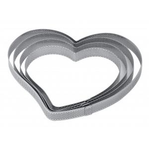 Cercle à Tarte Coeur Inox Micro-perforé 16 x 15 cm x H 2 cm Pavoni