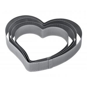 Cercle à Entremets Coeur Inox Micro-perforé 18 x 17 cm x H 3,5 cm Pavoni
