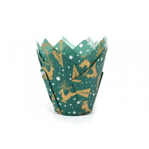 Caissette Cupcake Rennes et Sapins (x50) House of Marie