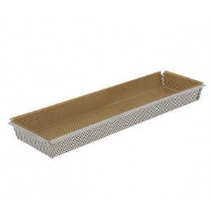 Moule à Tarte Rectangulaire Inox Perforé Amovible 35 x 10 cm x H 3,5 cm De Buyer