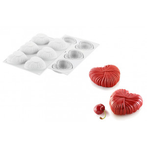 Moule Silicone 6 Coeurs Lovely 8,2 x 7,7 cm x H 3,1 cm Silikomart Professional