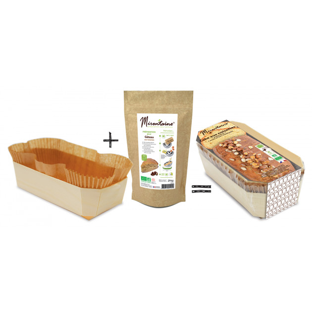 Kit Sachet Gâteau tout prêt + moule à gâteau en bois