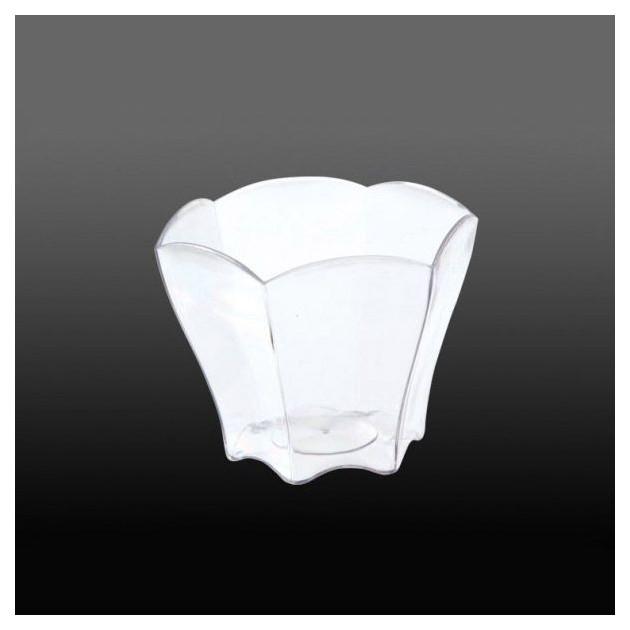 FIN DE SERIE Verrine Transparente Forme Petale 6.5 cl (Fond Noir)