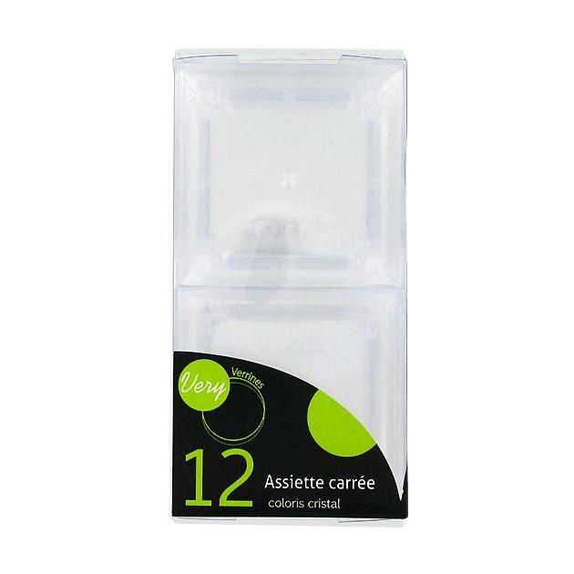 FIN DE SERIE Packaging des 12 Assiettes Carrees Coloris Cristal