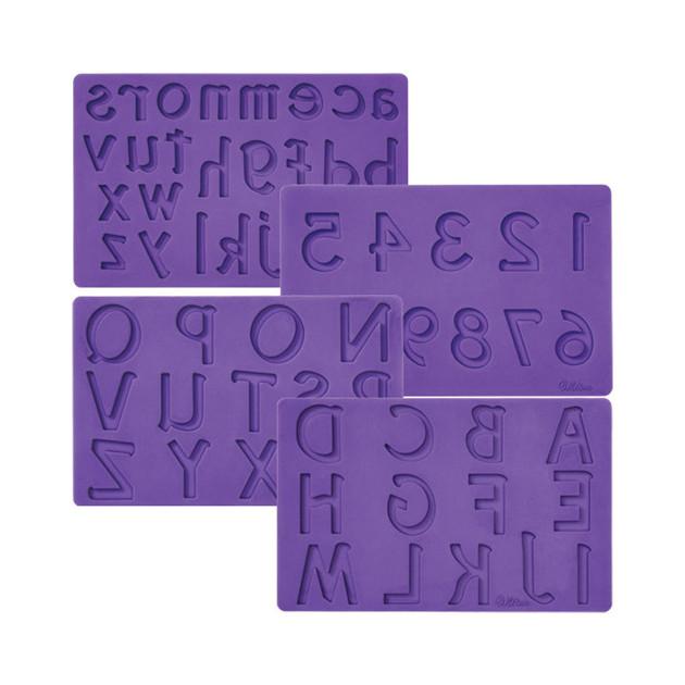 Moule pour Pate a Sucre et Gum Paste Lettres et Chiffres x4 Wilton