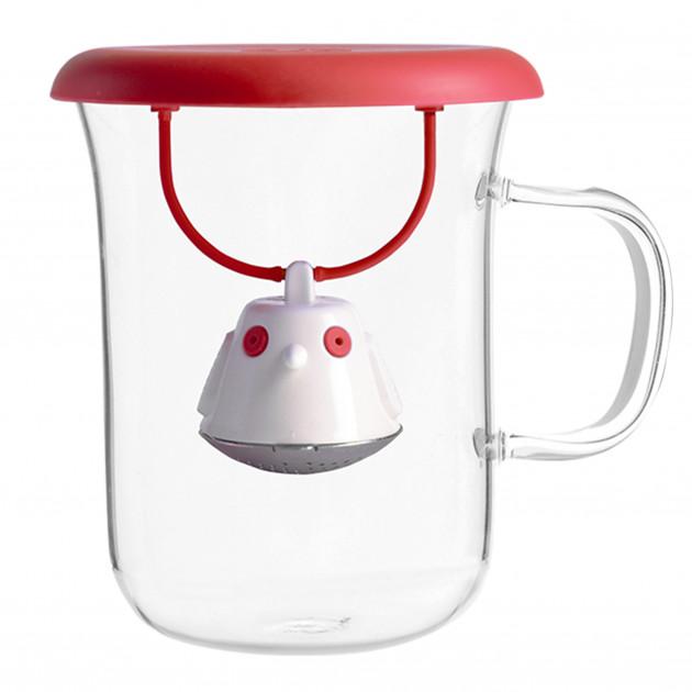 Tasse à Thé avec Infuseur et Couvercle Rouge 400 ml QDO