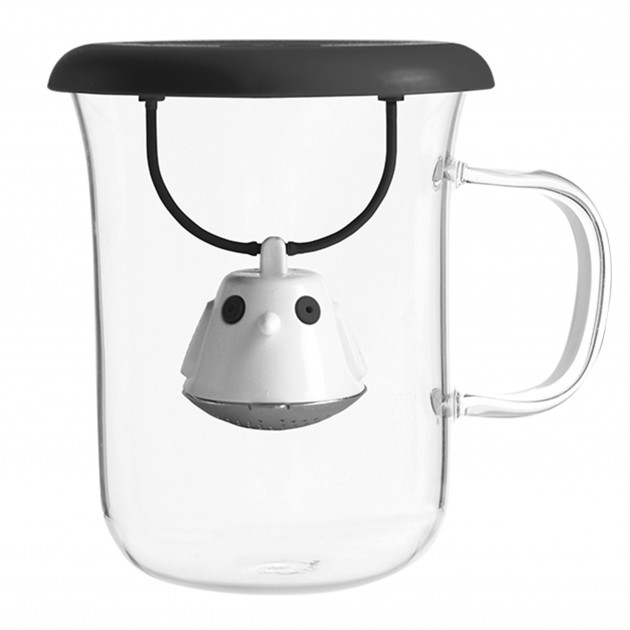 Tasse à Thé avec Infuseur et Couvercle Noir 400 ml QDO