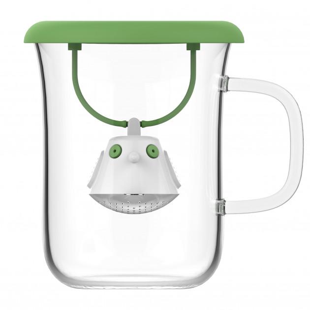 Tasse à Thé avec Infuseur et Couvercle Vert Botanique 400 ml QDO