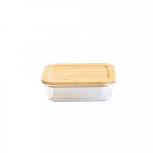 Boîte de Conservation en Verre et Bambou Rectangle 640 ml Pebbly
