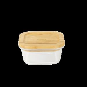 Boîte de Conservation en Verre et Bambou Carré 520 ml Pebbly