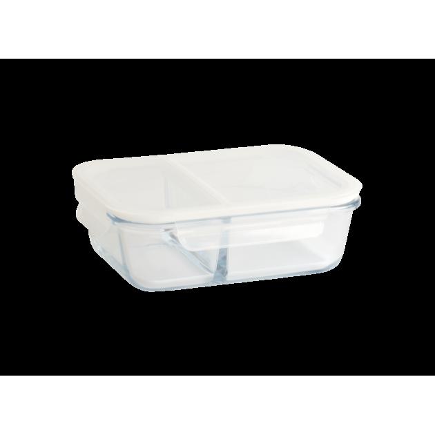 Boîte de Conservation en Verre avec Compartiments Rectangle 950 ml Pebbly