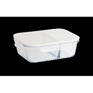 Boîte de Conservation en Verre avec Compartiments Rectangle 1450 ml Pebbly