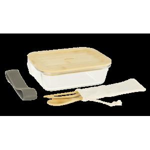 Lunch Box Verre et Bambou avec Couverts 1 L Pebbly