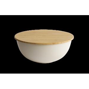 Saladier Bambou avec Couvercle Ø19 cm Crème Pebbly