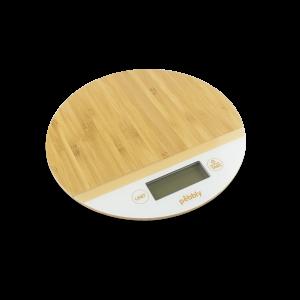 Balance de Cuisine Bambou Rond Blanc Ø19 cm Pebbly