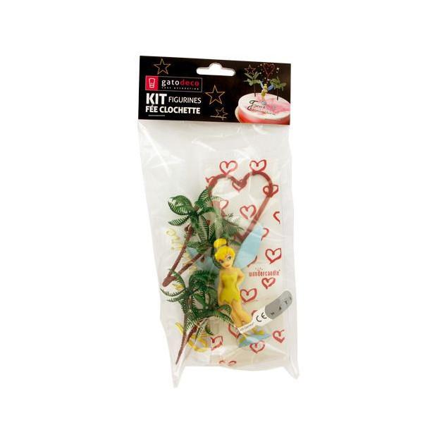 Packagind des Decorations pour gateau d'anniversaire sur le theme de la Fee Clochette