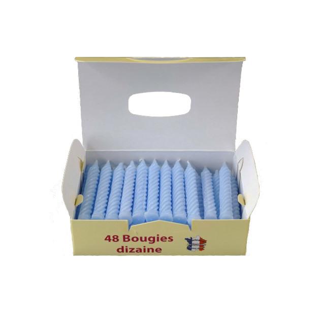 Bougies d'anniversaire torsadées bleues (x48)