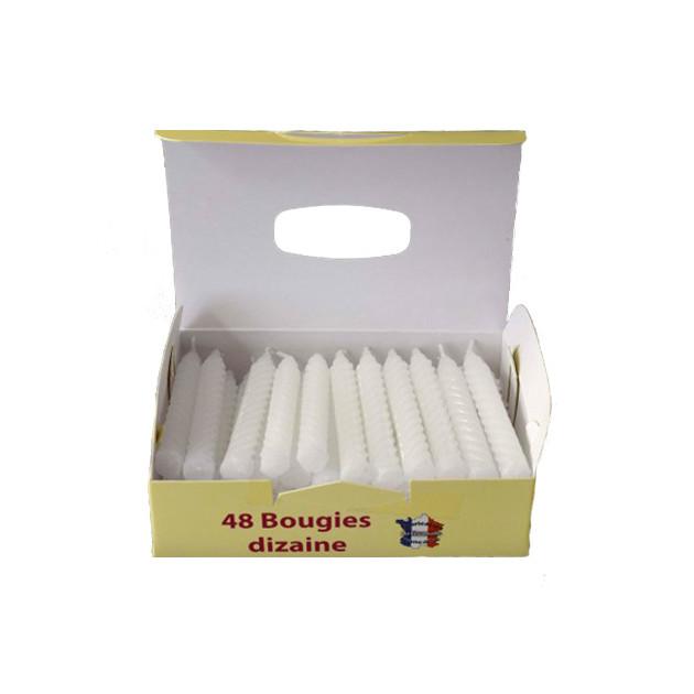 Bougies d'anniversaire torsadées blanches (x48)