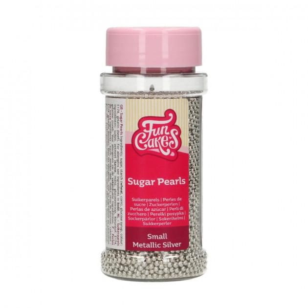 Perles de sucre 2mm Argente 80g Funcakes