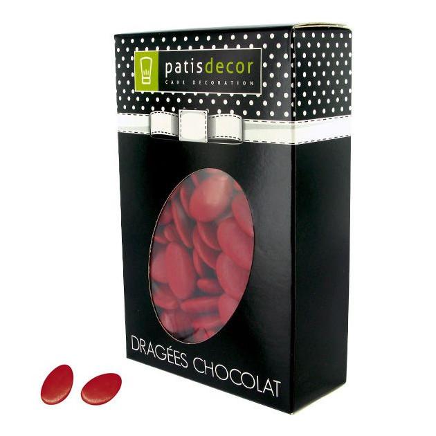FIN DE SERIE Dragees Chocolat Rouge Cerise 500 g Patisdecor