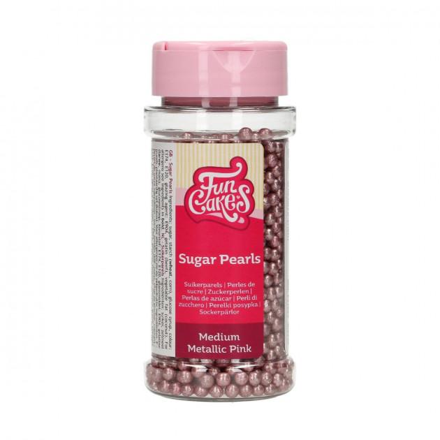 Perles de sucre Rose Métallique 80g Funcakes