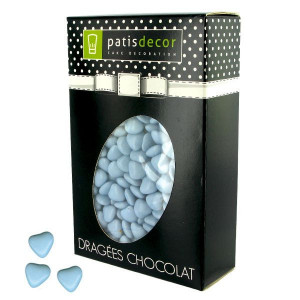 Dragées Chocolat Mini-Coeurs Bleu Ciel 500 g Patisdécor