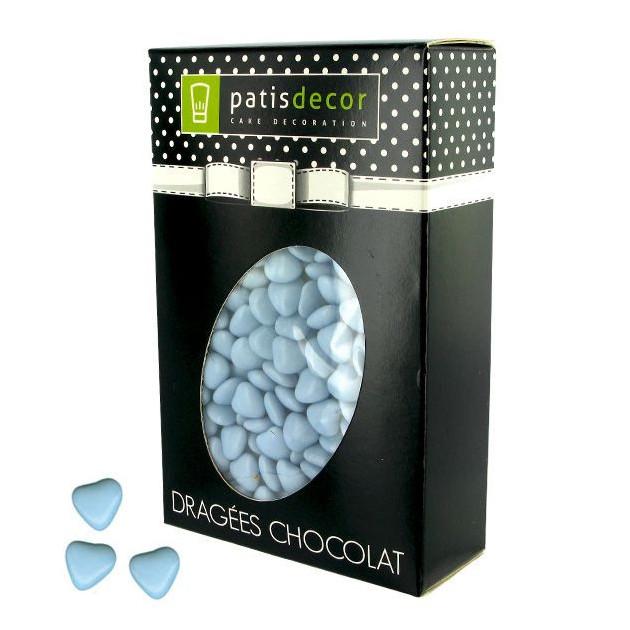Dragees Chocolat Mini-Coeurs Bleu Ciel 500 g Patisdecor