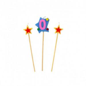 Bougie Chiffre 0 avec 2 bougies étoiles Gatodéco