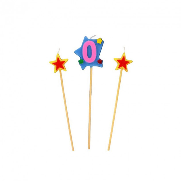Bougie Chiffre 0 avec 2 bougies etoiles Gatodeco