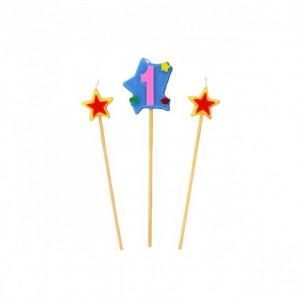 Bougie Chiffre 1 avec 2 bougies étoiles Gatodéco