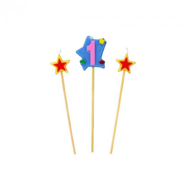 Bougie Chiffre 1 avec 2 bougies etoiles Gatodeco