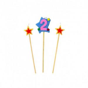 Bougie Chiffre 2 avec 2 bougies étoiles Gatodéco