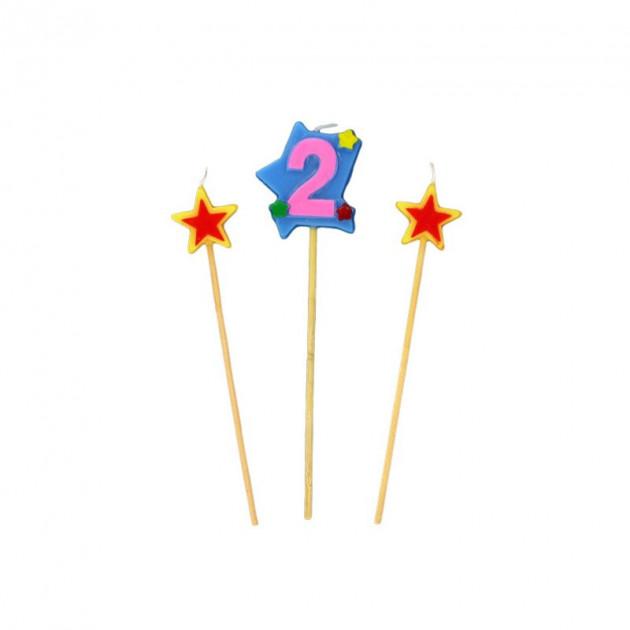 Bougie Chiffre 2 avec 2 bougies etoiles Gatodeco