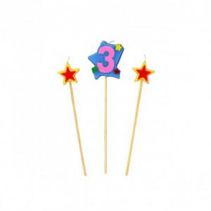 Bougie Chiffre 3 avec 2 bougies étoiles Gatodéco
