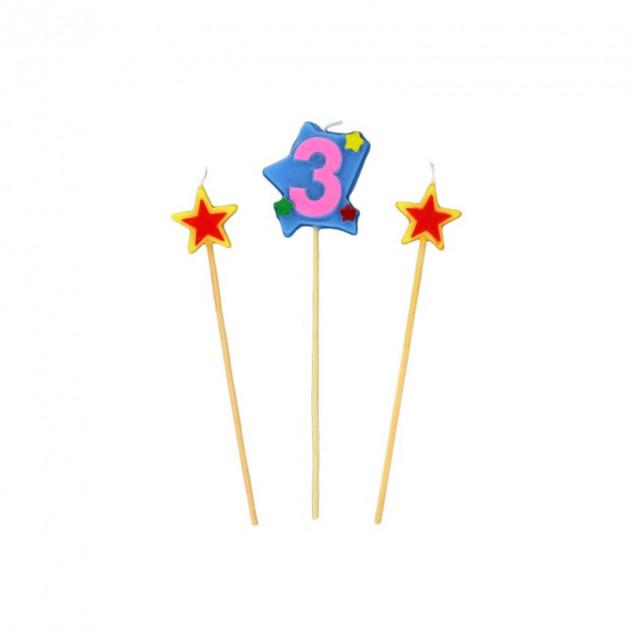 Bougie Chiffre 3 avec 2 bougies etoiles Gatodeco