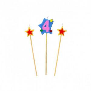 Bougie Chiffre 4 avec 2 bougies étoiles Gatodéco