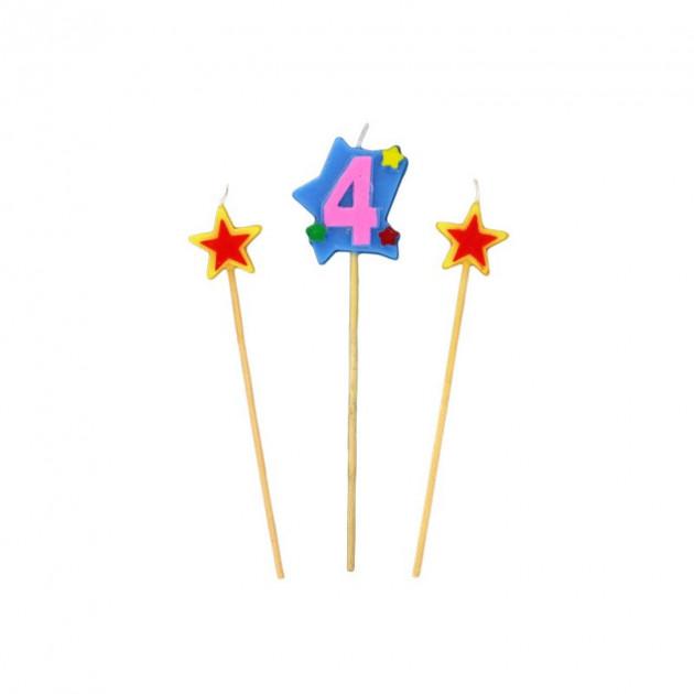 Bougie Chiffre 4 avec 2 bougies etoiles Gatodeco