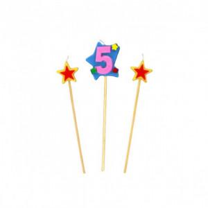 Bougie Chiffre 5 avec 2 bougies étoiles Gatodéco