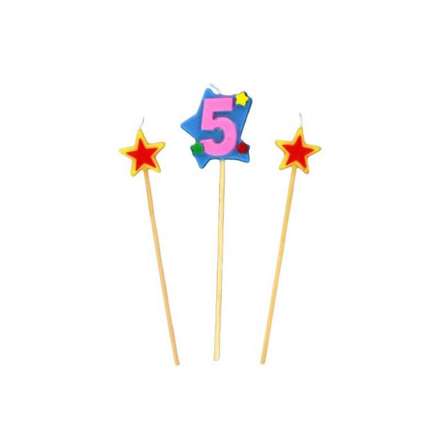 Bougie Chiffre 5 avec 2 bougies etoiles Gatodeco