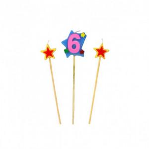 Bougie Chiffre 6 avec 2 bougies étoiles Gatodéco